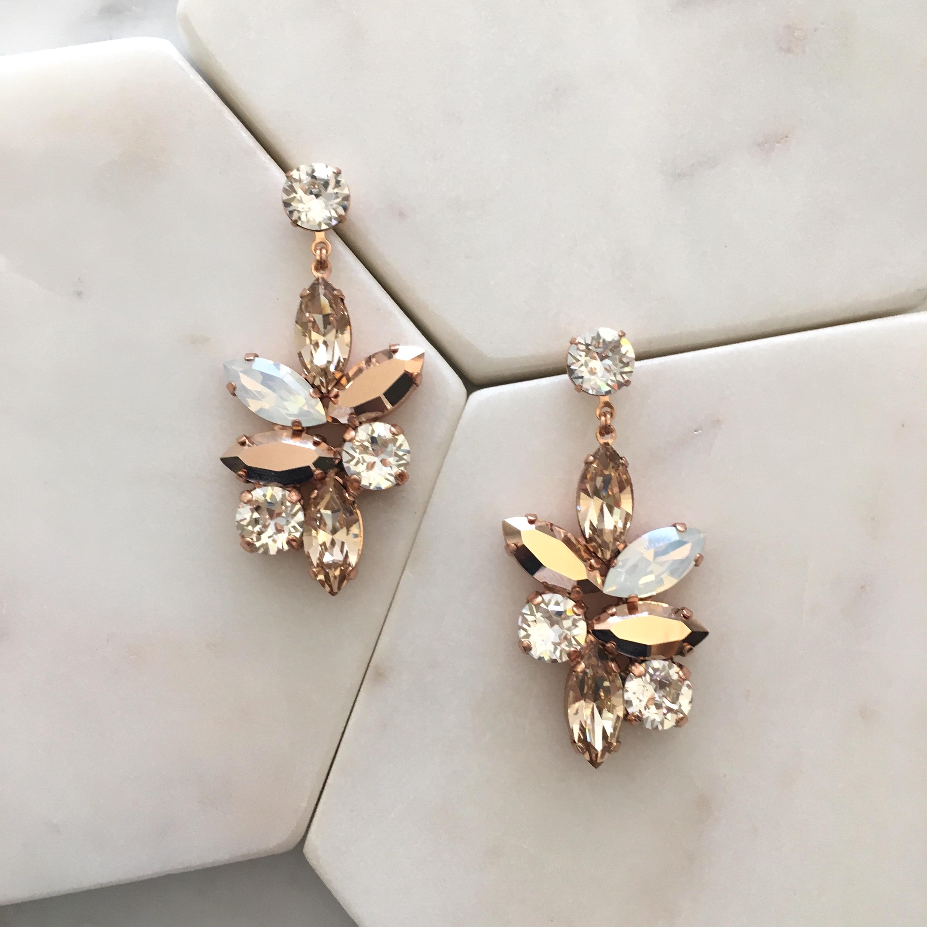 9b426126359ac0 Earrings    Crystal    Jen Large Drop Earrings-Crystal Mix Rose Gold