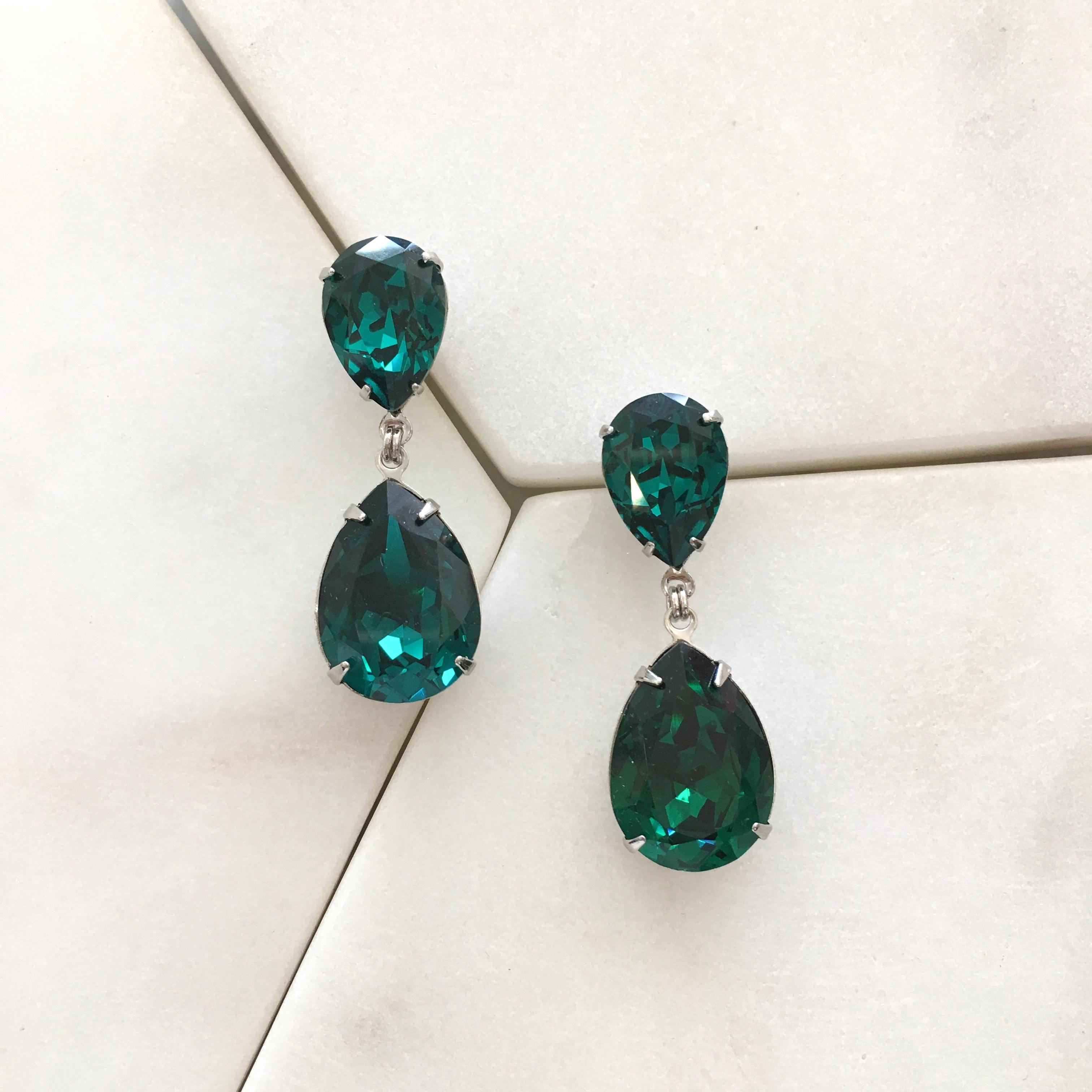 357e8b795 Earrings :: Crystal :: Double Pear Drop Earring - Emerald/Rhodium